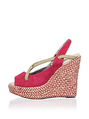 Charlotte Ronson Women's Josephine Wedge Espadrille (Red Stripe)