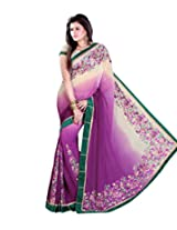Sangam Sheded purple Patli Work Sari