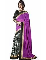 Pagli purple with black half-half georgette printed saree.