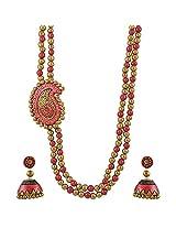 Avarna Terracotta Necklace Set Nsa0022 For Women (Red )