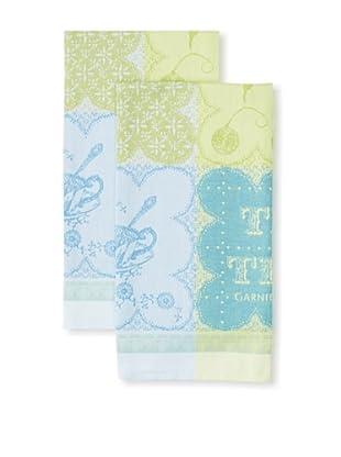 Garnier-Thiebaut Set of 2 Cup Of Tea Kitchen Towels, Turquoise, 22