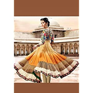 Orange & Brown Georgette with Resham Embroidered Work Unstitched Anarkali Salwar Kameez Suit