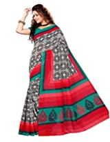 Sangam Saree Womens Red Black Bhaglpuri Print Saree
