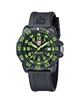 Luminox Men's 3067 Black Polyurethane Analog Quartz Watch with Green Dial
