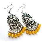 yellow beaded fancy earrings from Violetsz