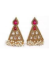 Sunehri Pearl & Polki Triangle Earrings for Women