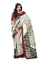 Brijraj White Bhagalpuri Silk Beautiful Printed Saree With Unstitch Blouse