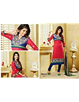 Fabboom New Red And Blue Designer Cotton Straight Cut Suit With Long Sleeve