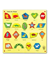 Skillofun Wooden Jumbo Animal Geo Shapes (Raised), Multi Color