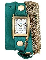 La Mer Collections Women's LMMULTICW1021TEAL Stainless Steel Watch with Teal Leather Wraparound Band