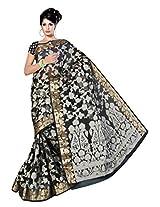 Saree With Blouse Piece Sansarr Silk Saree With Blouse Piece (6031_Black -Black)