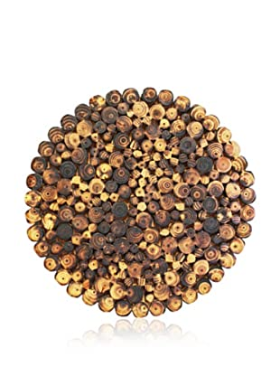 Gold Leaf Design Burnt Fir Round Disc