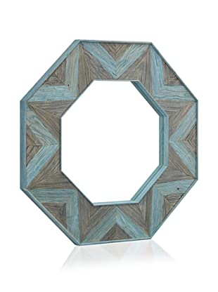 Shine by S.H.O. Parker Octagonal Mirror (Antique Elm/Pale Ocean)