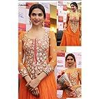 Deepika Padukone in Orange Bollywood Anarkali Suit - TBBWDF-48