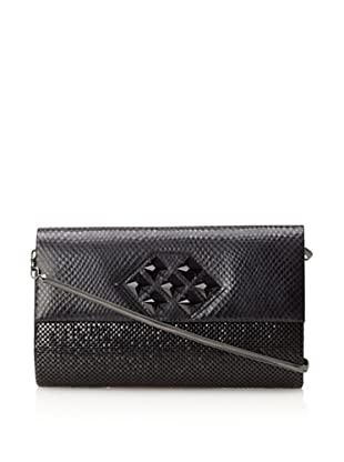 Whiting & Davis Women's Large Crystal Patch Flap Clutch (Black)