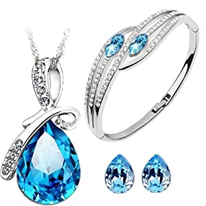Cyan Bow Style Crystal Jewelry Set Combo Elegant Bracelet for Girls