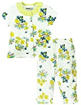 Half Sleeves Floral Printed Night Wear Set - White/Yellow (0-6 Months)