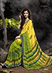 Geometric Printed Yellow Colored Saree 52023B