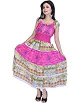 Fandango-Pink Barbie Dress With Printed Flowers and Thread Embroidery - Pure ...