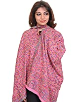Exotic India Kani Stole with Woven Paisleys in Multi-color Thread - Color Morning GloryColor Free Size
