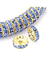 Beadnova Gold Plated Rhinestone Crystal Rondelle Spacer Beads 6mm 8mm 10mm Various Color #211 Light Sapphire/06mm AD