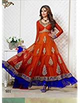 Rozdeal Women Net Embroidered and Patch Border Work Unstitched Longsleeve Anarkali Suit