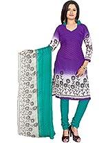 Vardhman Purple Cotton Jacquard Unstitched Straight Salwar Suit dress material