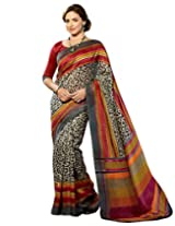 Brijraj Esha Deol, Gray Cream Multi Bhalgalpuri Silk Beautifull Printed Saree With Unstitch Blouse