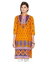 Mytri Orange Long Kurta(9000029-Orange-XS)