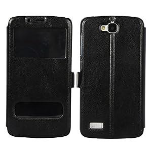 CUBIX Vintage Slim Black Leather Case Flip Cover