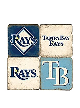 Studio Vertu Set of 4 Tampa Bay Logoed Tumbled Marble Coasters with Stand