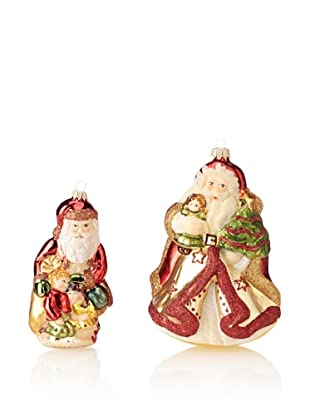 Krebs Glas Lauscha English Santa with Children & Swiss Santa with Doll Set