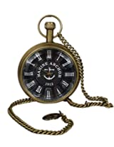 Unisex Antique Case Vintage Brass Rib Chain Quartz Pocket Watch For Men Women - 1.8 Inch