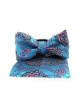 FBT-VS-527 - Aqua - Pink - Ultra Modern Self Tie Bow Tie Hanky