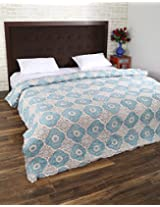 Ultimate Hand Block Printed Cotton Quilt Double White Floral By Rajrang