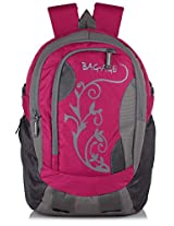 Bag-Age Flower Large School College Backpack (Pink)