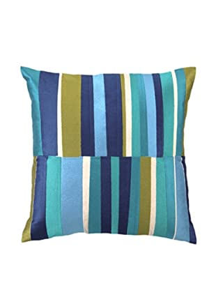 Trina Turk Watercolor Stripe Embroidery Linen Pillow (Blue)
