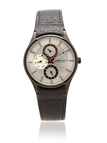 Johan Eric Men's JE4003-13-001 Streur Black IP Silver Dial Leather Watch