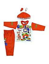 Boogie Woogie Bowo-11454-O Boy's Cotton Top & Bottom Set With Cap - (Orange) - (Size - M)