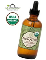 #1 Organic Moroccan Argan Oil USDA Certified Organic,100% Pure & Natural Cold Pressed Virgin, Unrefined Amber Glass Bottle w/ Glass Eye Dropper for Easy Application US Organic (4 oz (120ml))