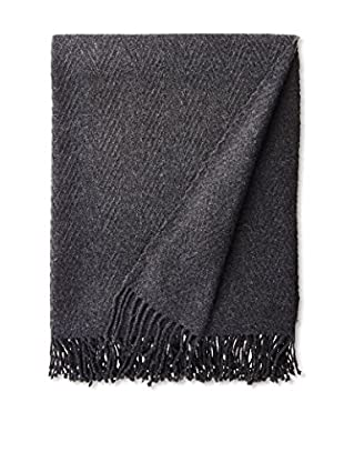 a & R Cashmere Wool & Cashmere Chevron Throw, Charcoal Grey