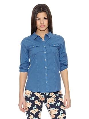 Springfield Blusa Garment Dyed Blouse (Azul)