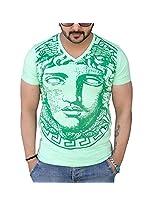 Black Collection Men's V-Neck Cotton T-Shirt (BCSA0025_Green_Medium)