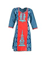 Karni Women's Cotton Blue & Red Kurti