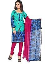 Vardhman Green Cotton Jacquard Unstitched Straight Salwar Suit dress material