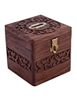 Craft Art India Brown Handmade Wooden Square Money Bank / Piggy Bank / Coin Box