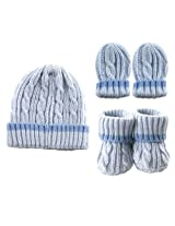 Luvable Friends Cableknit Hat, Mitten & Booties Gift Set, Blue
