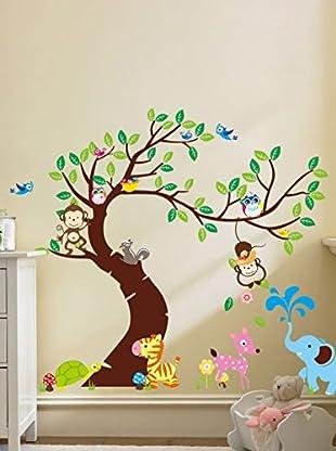 Ambiance Live Wandtattoo Giant for kids - Tree, monkeys and elephant mehrfarbig