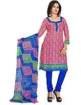 Vardhman Pink White Cotton Jacquard Unstitched Straight Salwar Suit dress material