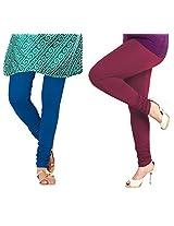 Lux Womens Churidar Cotton Leggings (Set Of 2) - L 05-61
